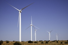 An image of a wind turbine at the Dry Lake Wind Power Project.